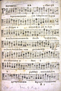 Unknown print of music, pasted in front of incunable as flyleaf