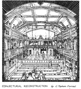 A conjectural reconstruction of the Blackfriars Theatre by G. Topham Forrest.