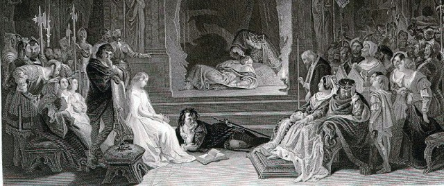 The play-scene from Hamlet by Daniel Maclise. Taken from the Imperial edition of the works of Shakespeare, 1876.